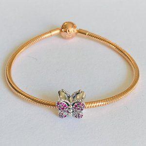 Pandora Rose Gold Bracelet & 1 Silver Butterfly